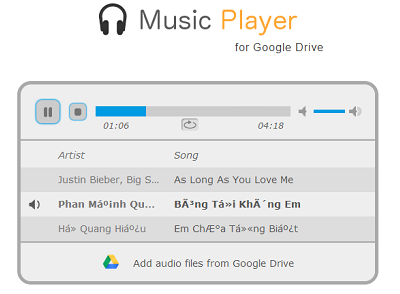 Music Player for Google Drive Screen