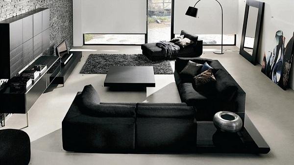 Nội thất phòng khách màu đen