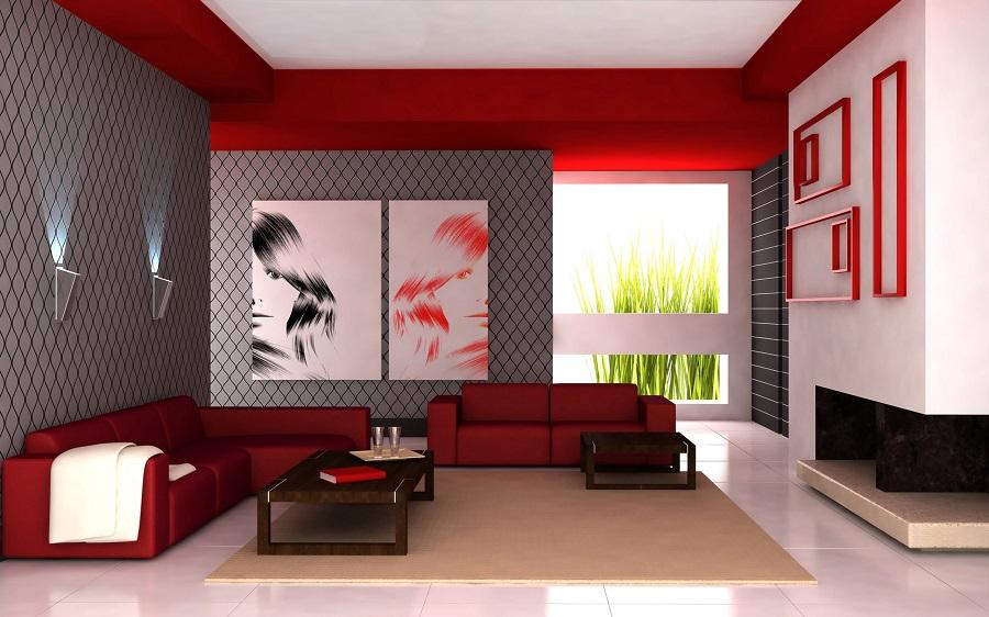 Phòng khách thiết kế với tông đỏ