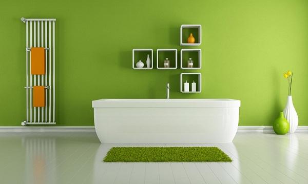 Mẫu nội thất phòng tắm màu xanh lá cây