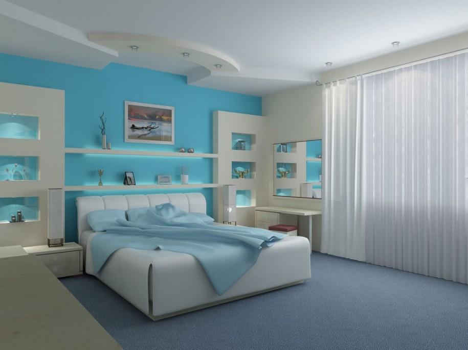 Thiết kế nội thất màu xanh dương