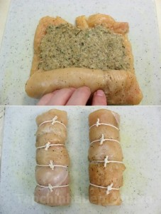 Cuộn gà với hỗn hợp đã xay